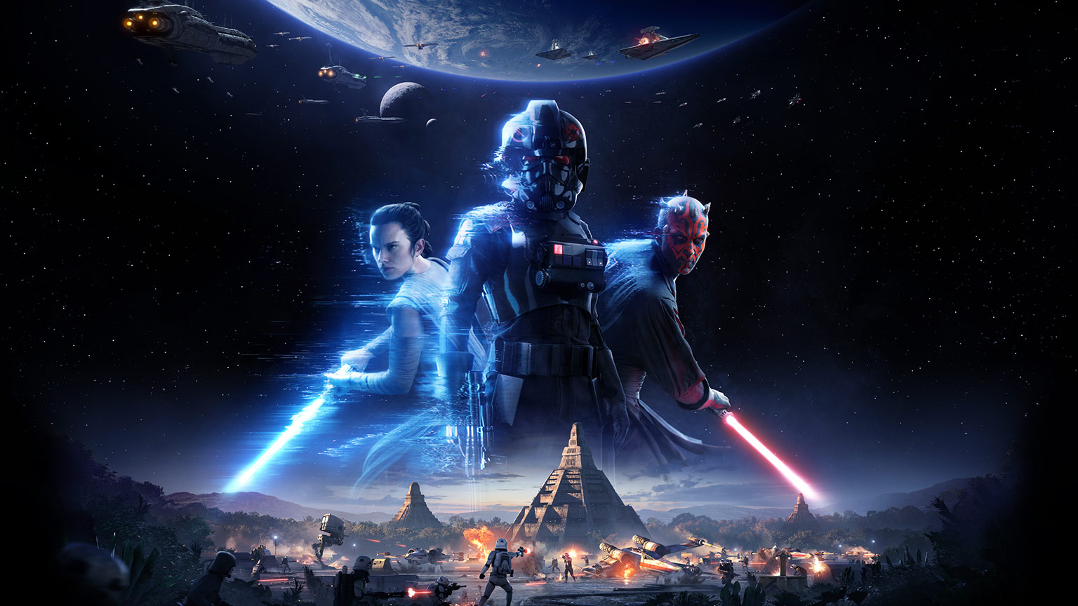 Star Wars Battlefront II key art featuring Iden Versio, Rey, and Darth Maul.