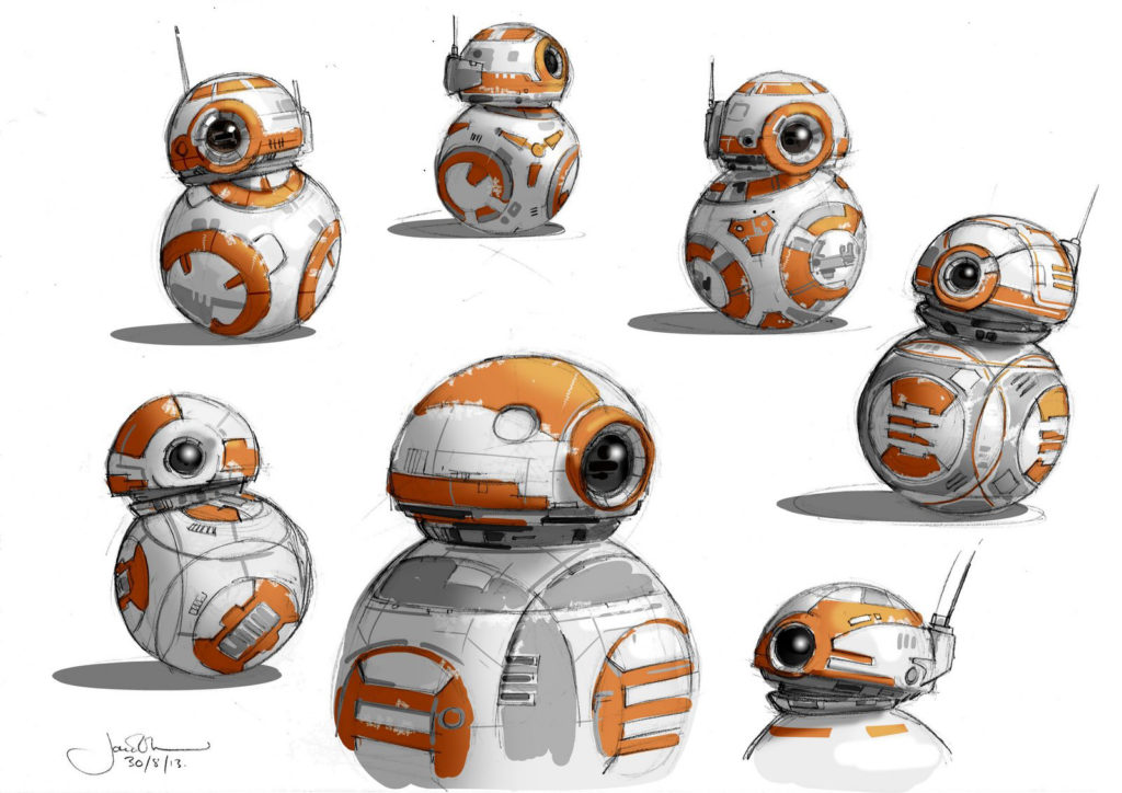 BB-8 concept art from Star Wars: The Force Awakens.