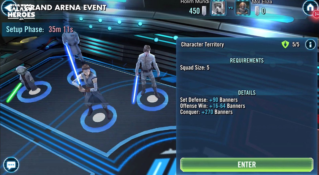 A screenshot from Galaxy of Heroes.