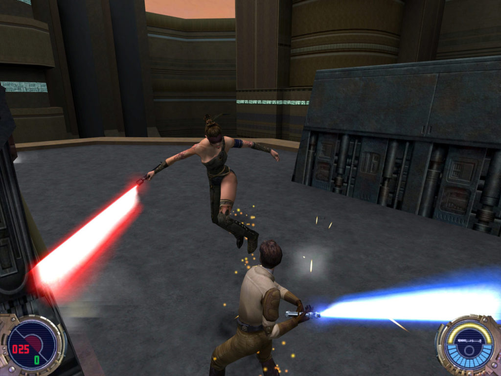 Kyle Katarn duels in Star Wars Jedi Knight II: Jedi Outcast.