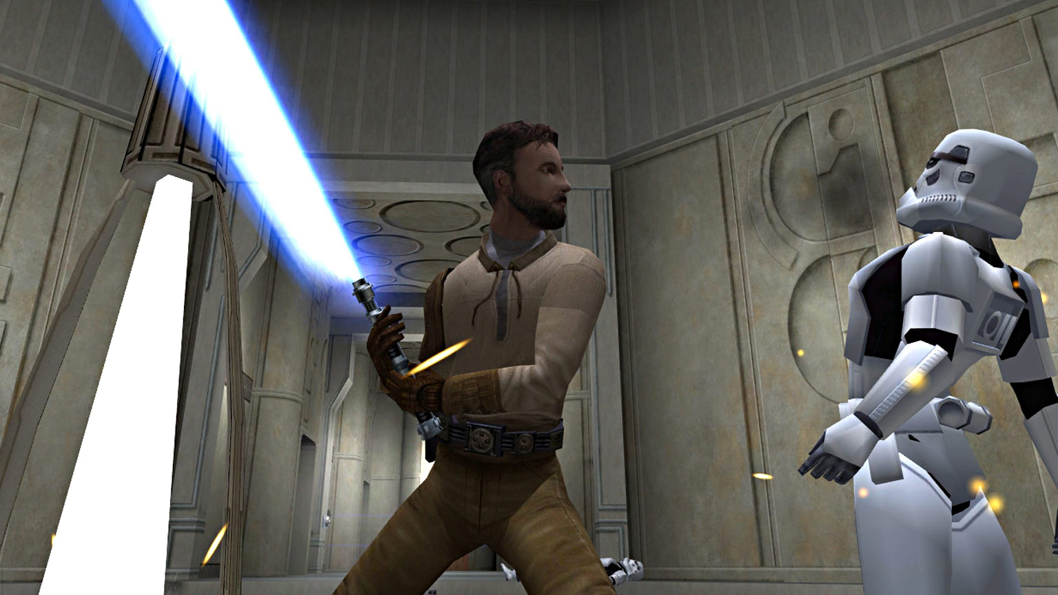 Kyle Katarn battles a stormtrooper in Star Wars Jedi Knight II: Jedi Outcast.