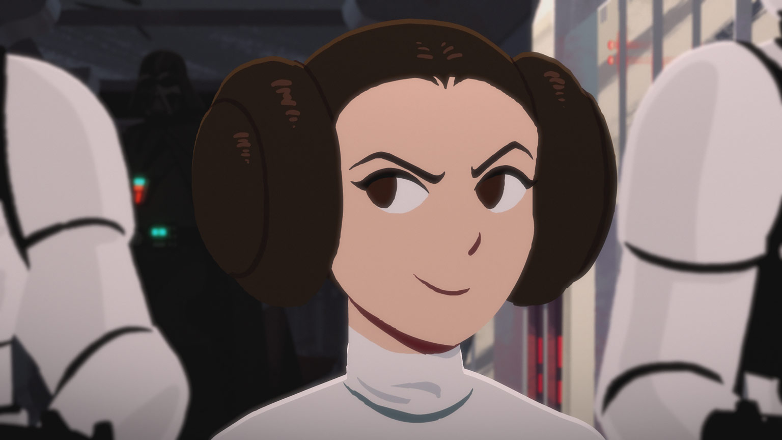 Princess Leia smirks in Star Wars Galaxy of Adventures.