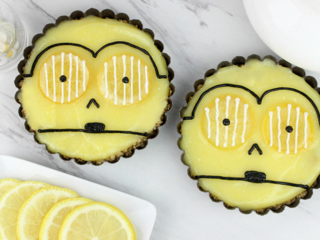 A step from a recipe for C-3PO lemon tarts.
