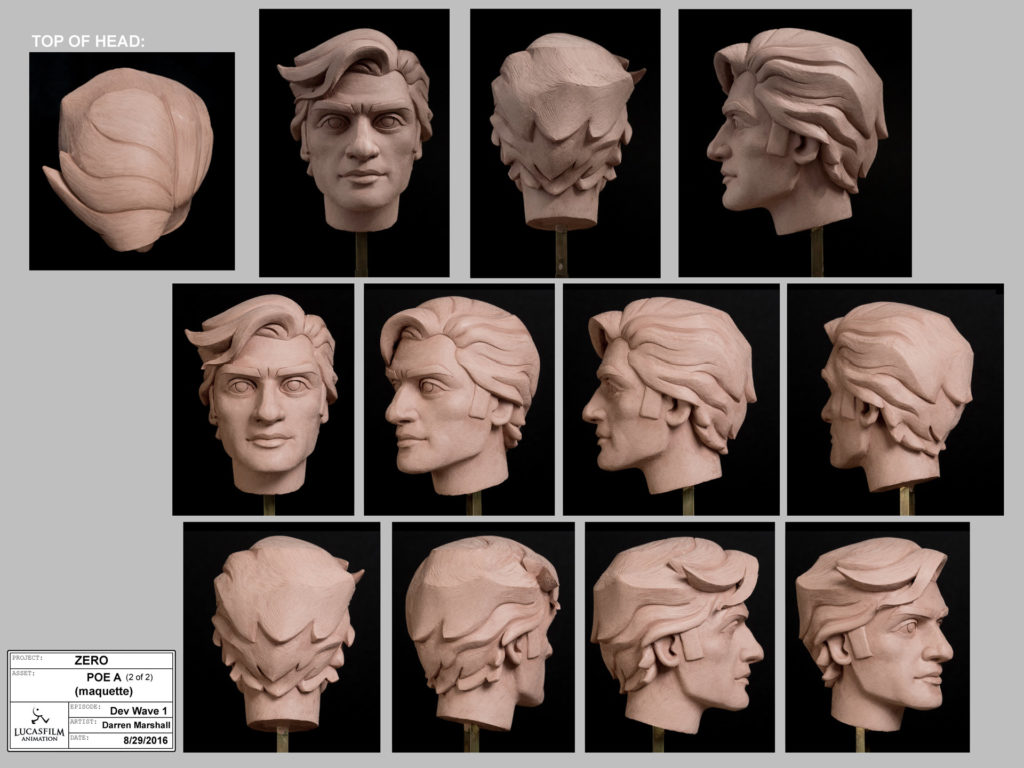Poe Dameron maquette created for Star Wars Resistance.