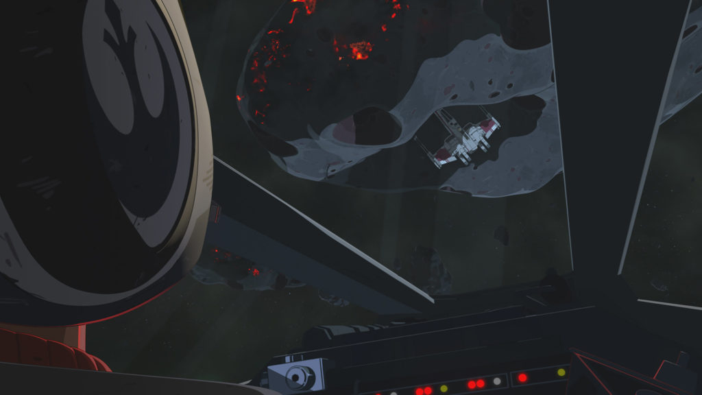 Poe searches for Kaz in the asteroids near Station Theta-Black in Star Wars Resistance.