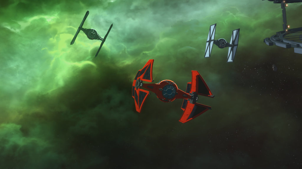 Major Vonreg's red TIE fighter and other First Order TIEs in Star Wars Resistance.