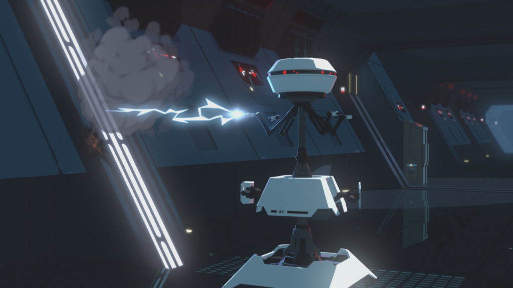 First Order sentry droid at Station Theta-Black in Star Wars Resistance.