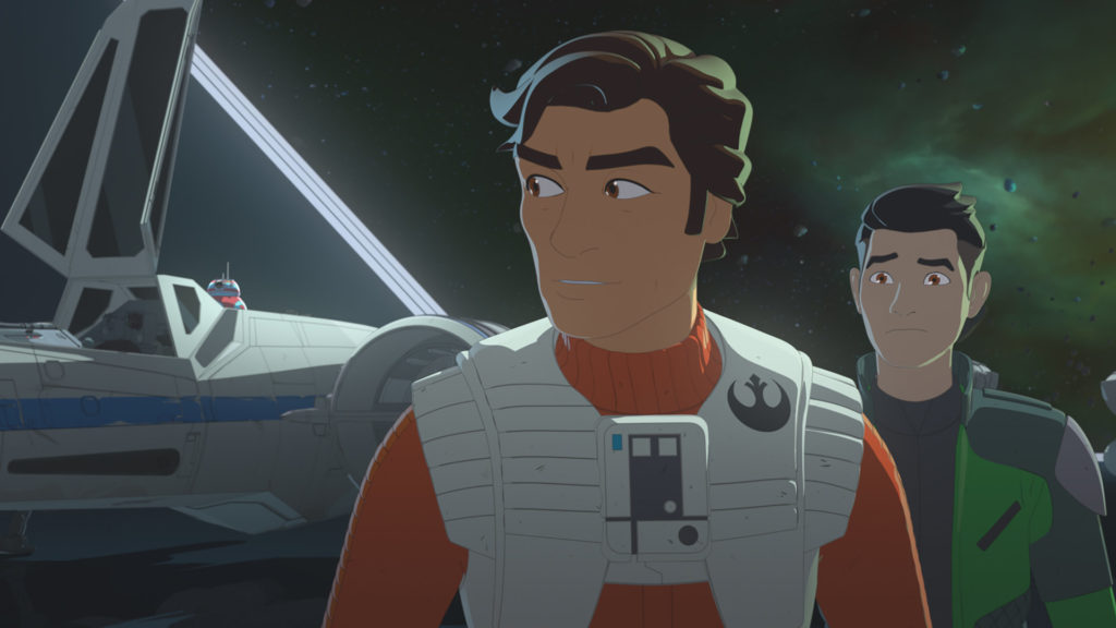 Kaz and Poe on Station Theta-Black in Star Wars Resistance.