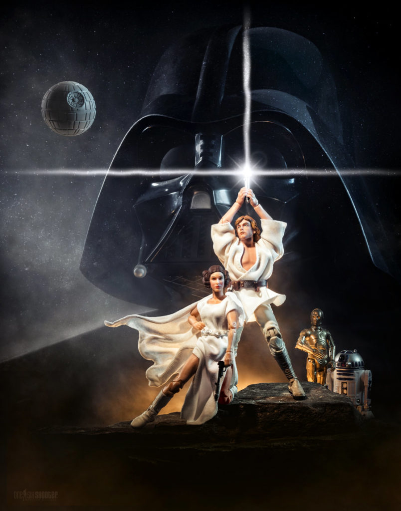 Star Wars Fan Awards 2018 winning photo recreation of the Star Wars: A New Hope poster using Black Series action figures.