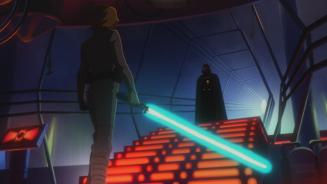 Luke confronts Vader on Bespin in Star Wars Galaxy of Adventures.