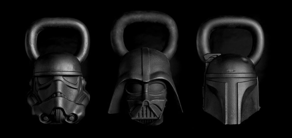 Three kettlebells.