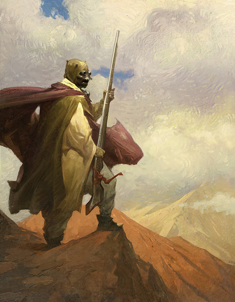 A Tusken raider is seen in an illustration featured in Star Wars Myths and Fables.