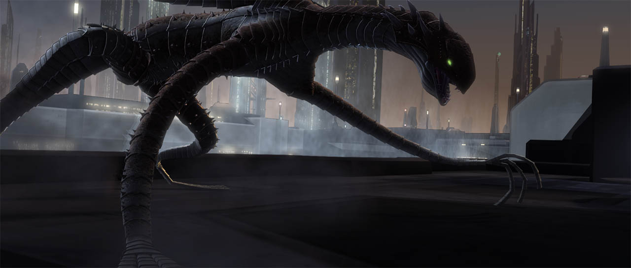 The Zillo Beast atop a Coruscant building