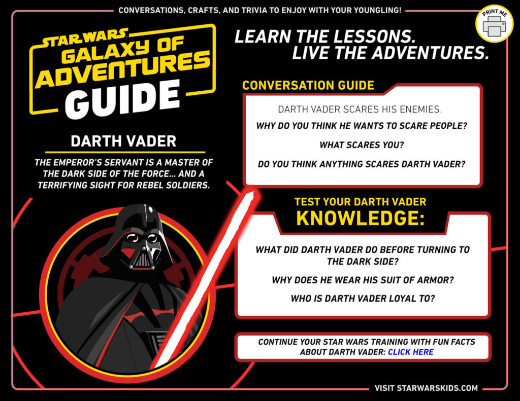 Darth Vader Star Wars Galaxy of Adventures guide.