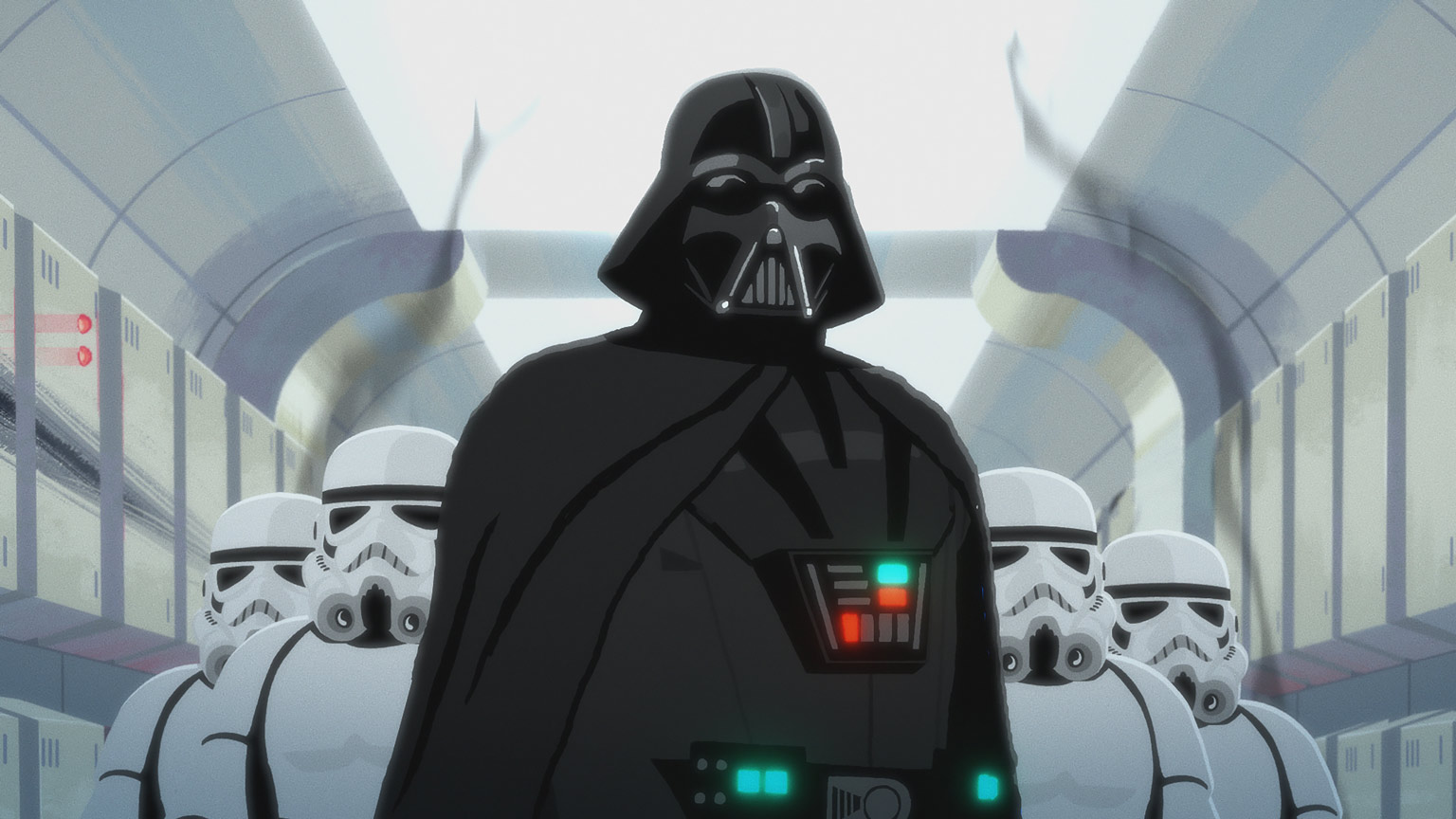 Darth Vader stands with stormtroopers in the Tantive IV in Star Wars Galaxy of Adventures.