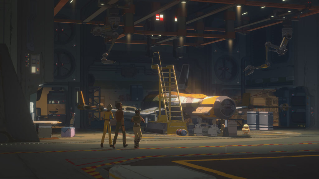 Team Fireball works on their ship in Star Wars Resistance.