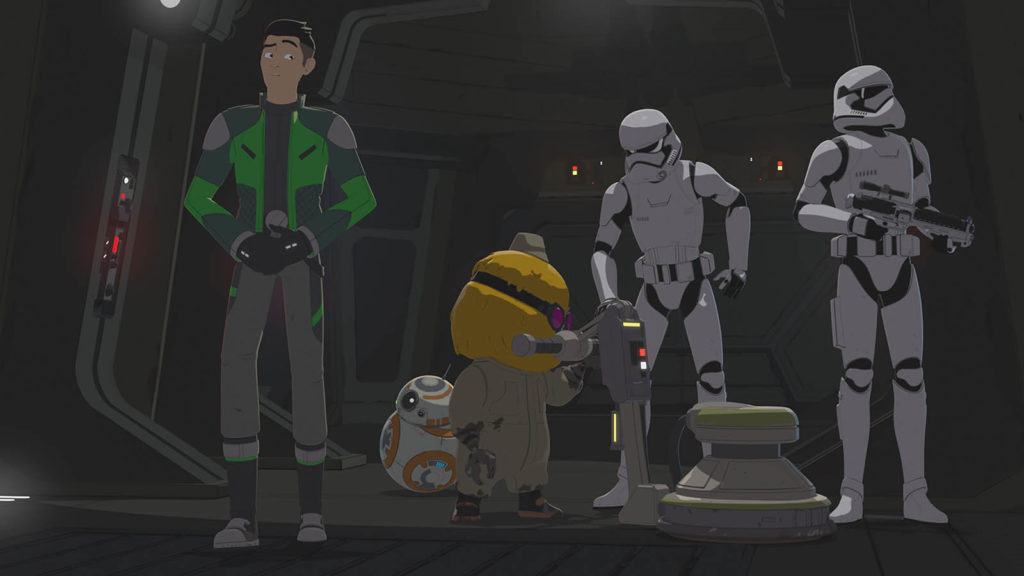 Opeepit is accosted in First Order Occupation, an episode of Star Wars Resistance.
