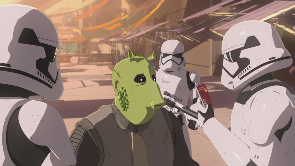 An alien shows its ID to stormtroopers on the Colossus in Star Wars Resistance.