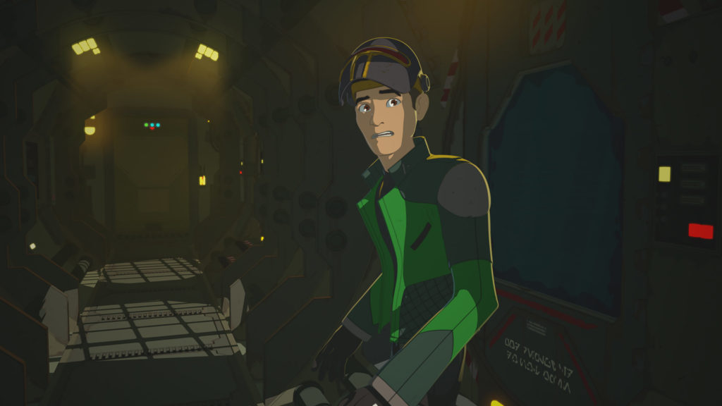 Kaz, having just launched Synara in an escape pod from the Colossus in Star Wars Resistance.