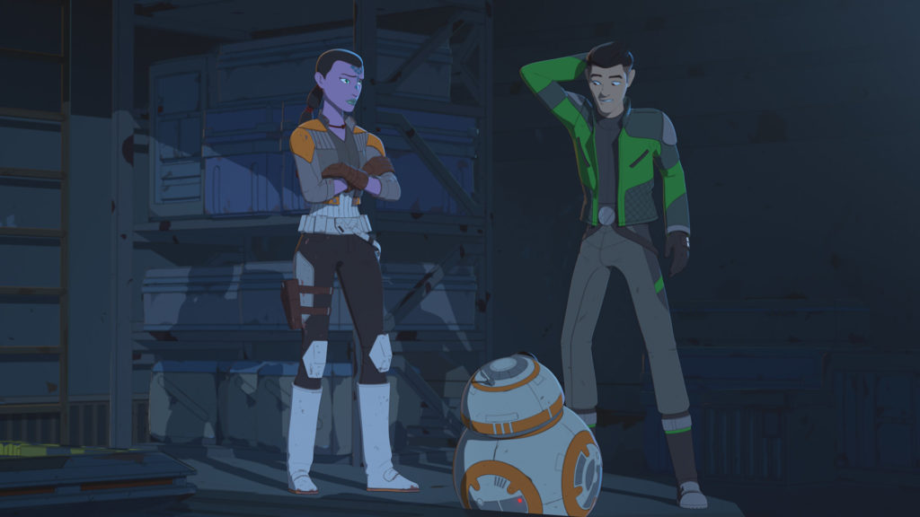 Kaz and BB-8 talk with Synara on Star Wars Resistance.