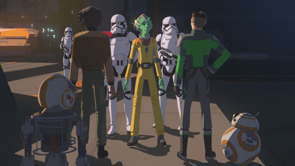 Stormtroopers come to Yeager's garage in Star Wars Resistance.