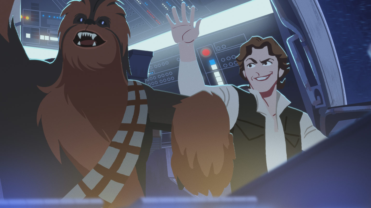 Chewbacca and Han Solo confidently gesturing from the cockpit of the Millennium Falcon