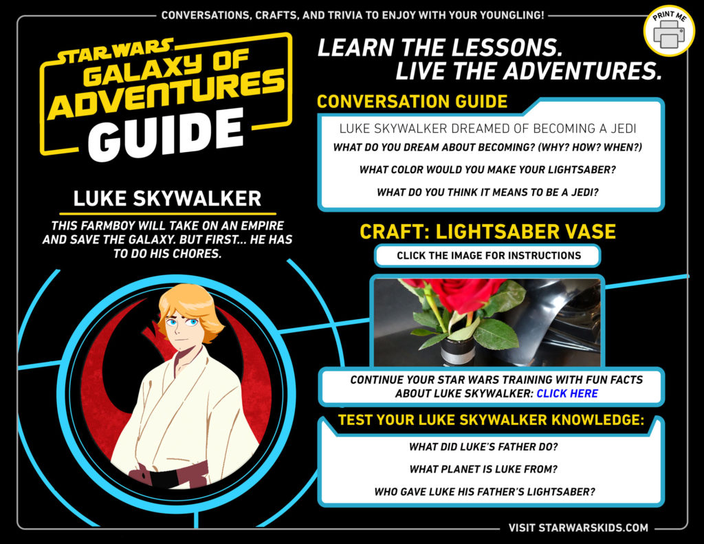 Luke Skywalker Galaxy of Adventures guide.