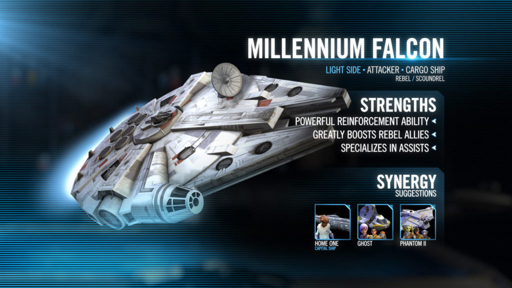 Millennium Falcon and a list of attributes for Star Wars: Galaxy of Heroes.