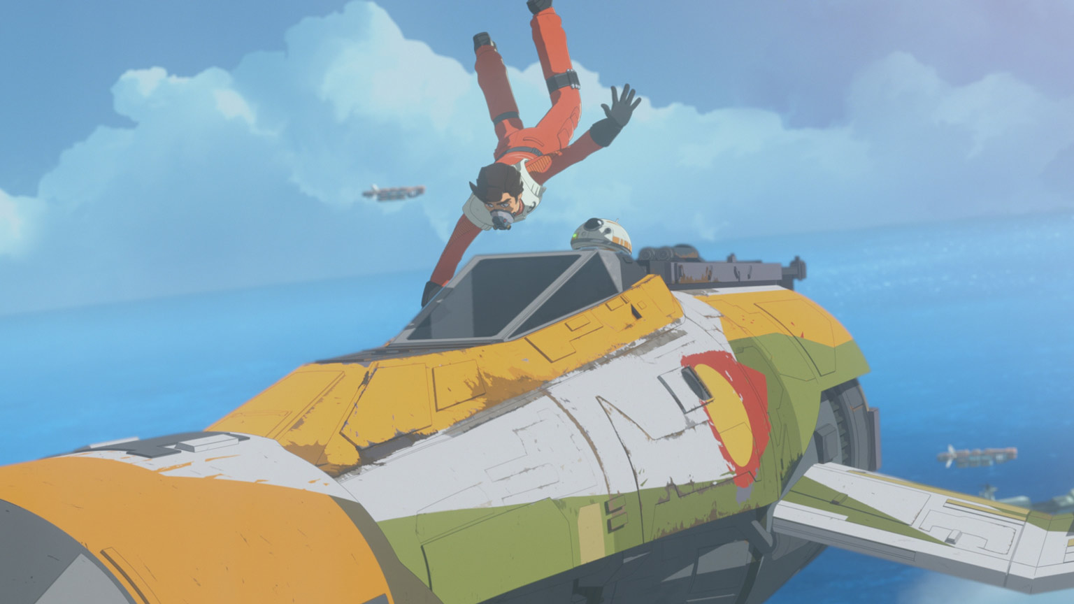 Poe Dameron hangs onto the Fireball in Star Wars Resistance.