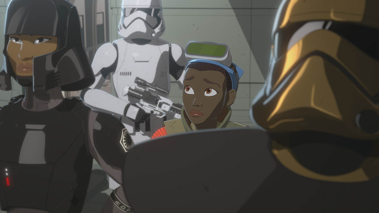 Tam is led away by the First Order in Star Wars Resistance.