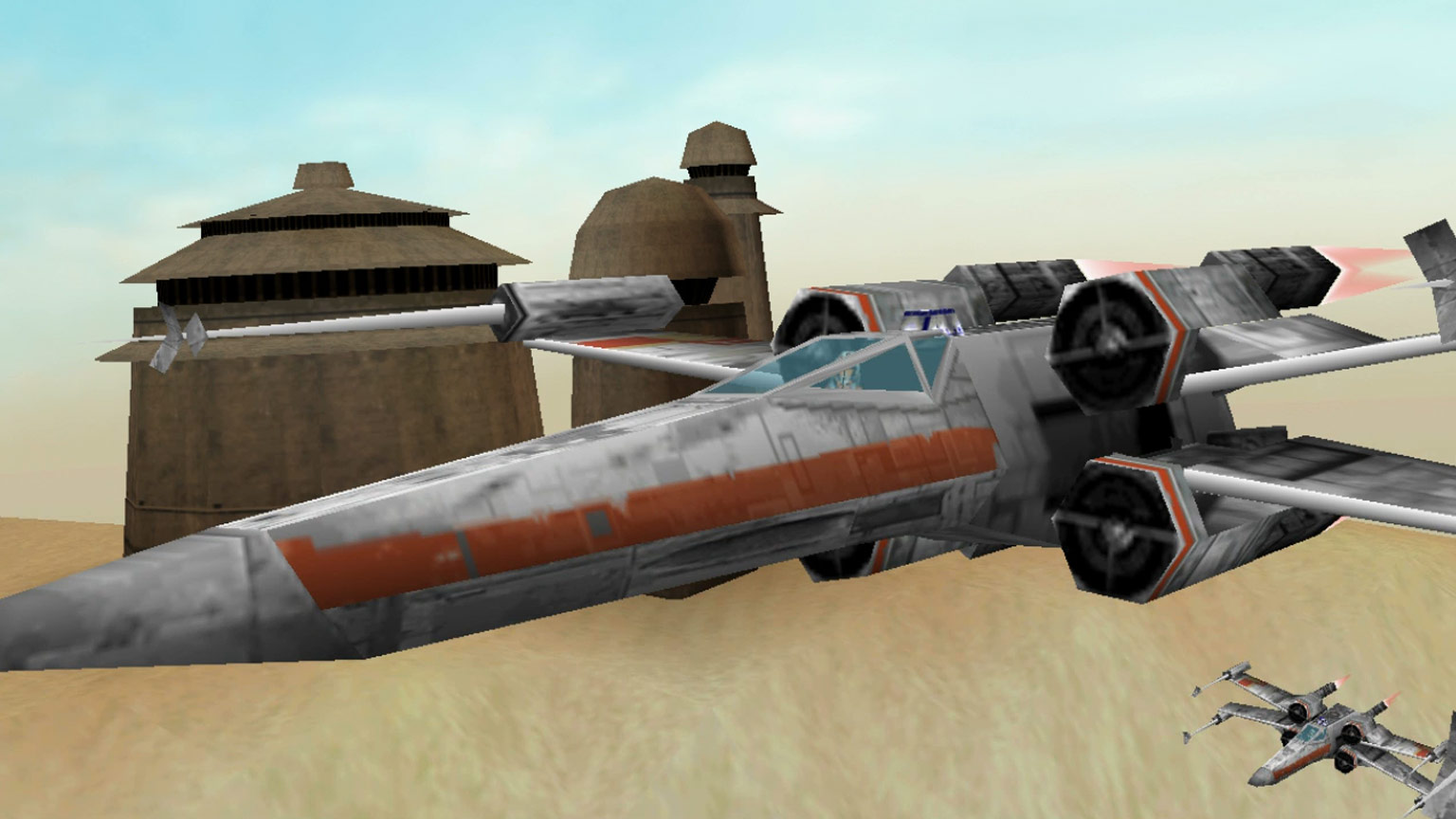 An X-wing flies over Tatooine in Star Wars: Rogue Squadron.