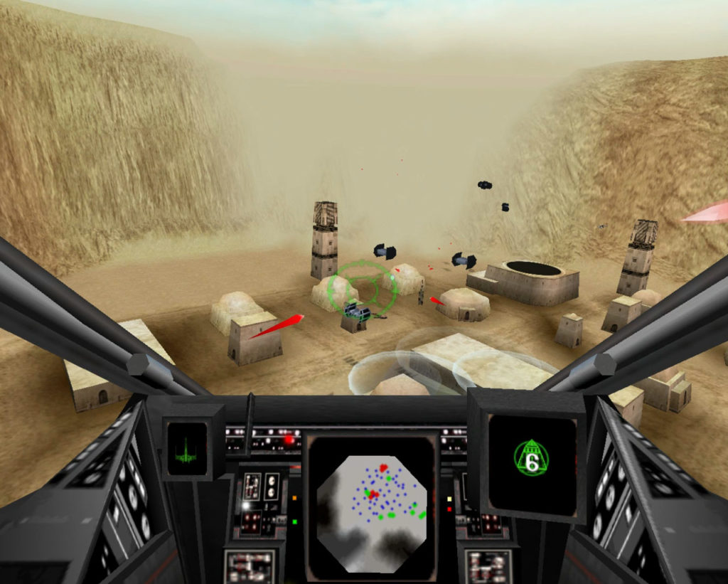 Blasting TIEs on Tatooine in Star Wars: Rogue Squadron.