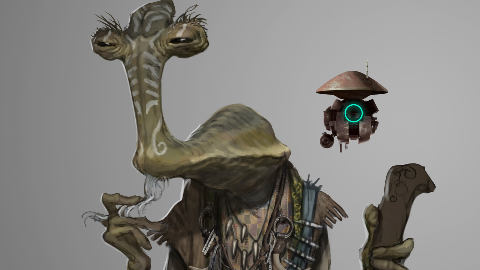 Dok-Ondar is shown in a piece of concept art.