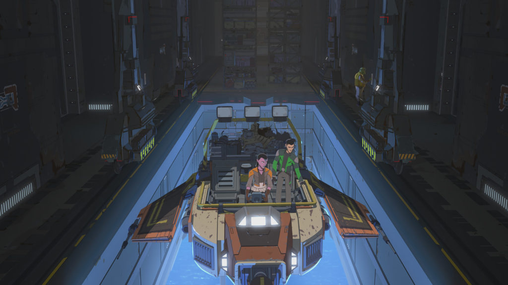 Synara and Kaz on their salvage craft in Star Wars Resistance.