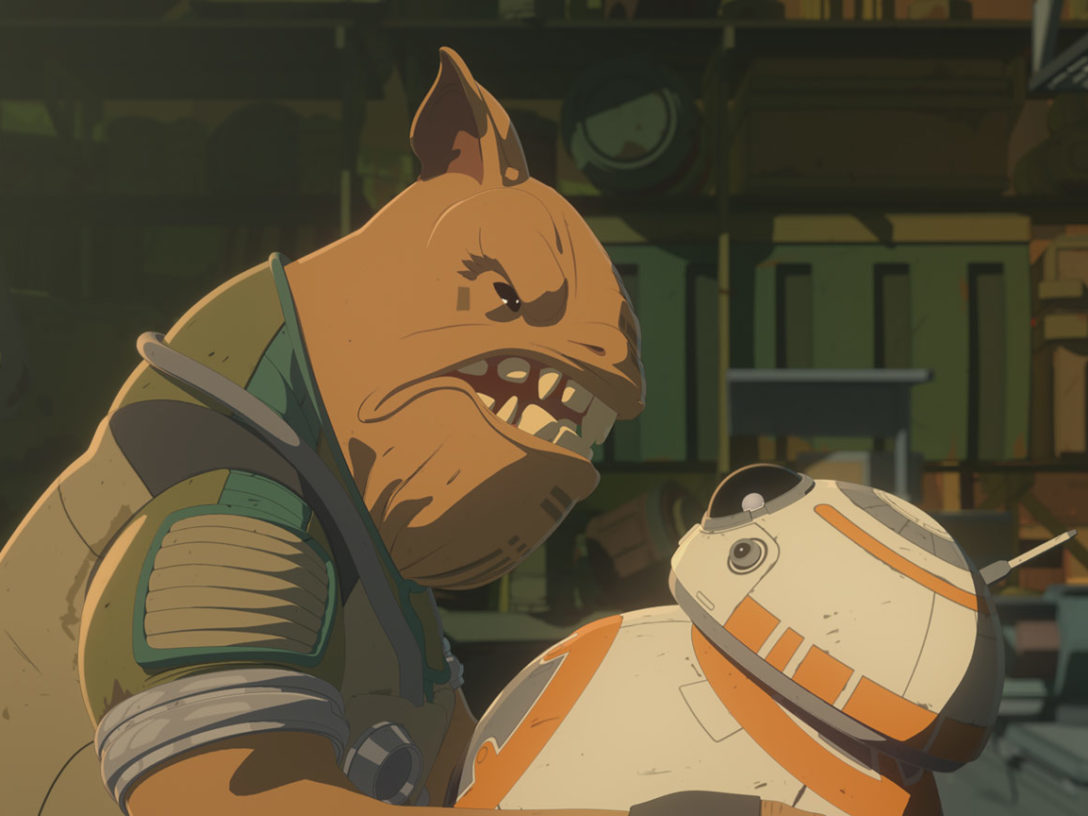 Teroj Kee intimidates BB-8 in Star Wars Resistance.