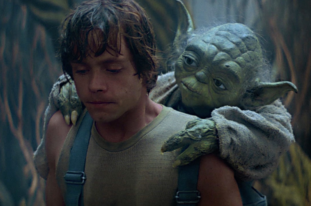 Yoda and Luke training on Dagobah