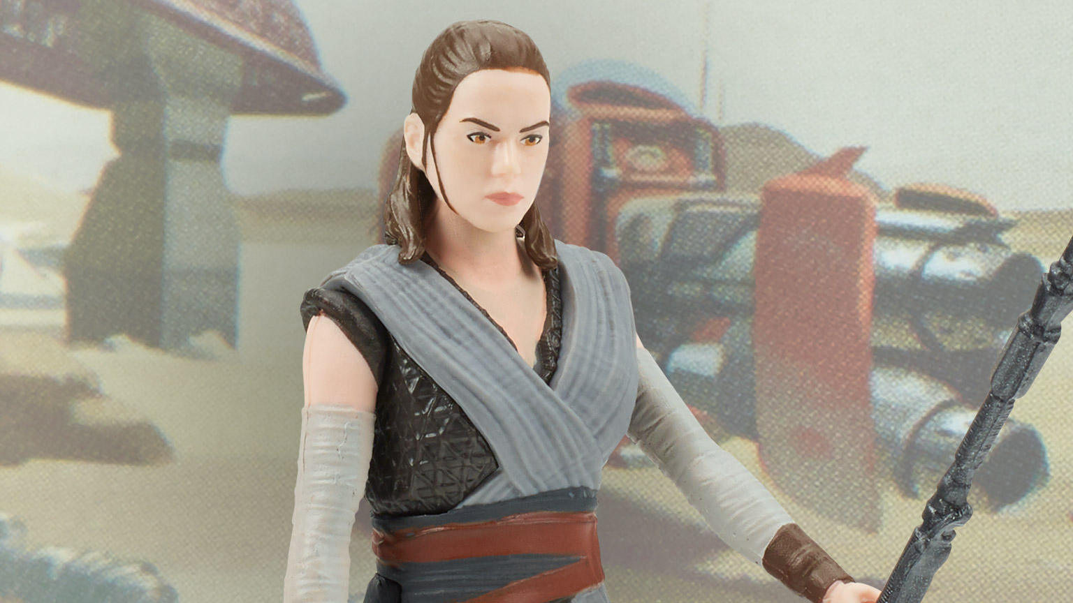 A Rey action figure, part of Hasbro's next wave of Star Wars Galaxy of Adventures figures.