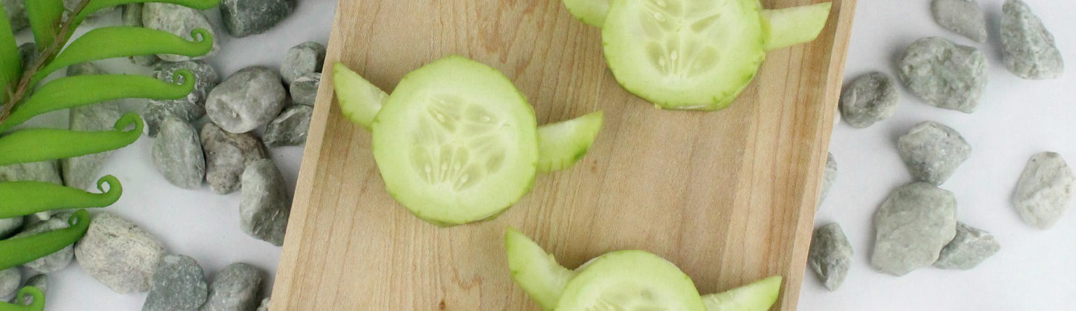 A tray of Yoda Cucumber Bites.