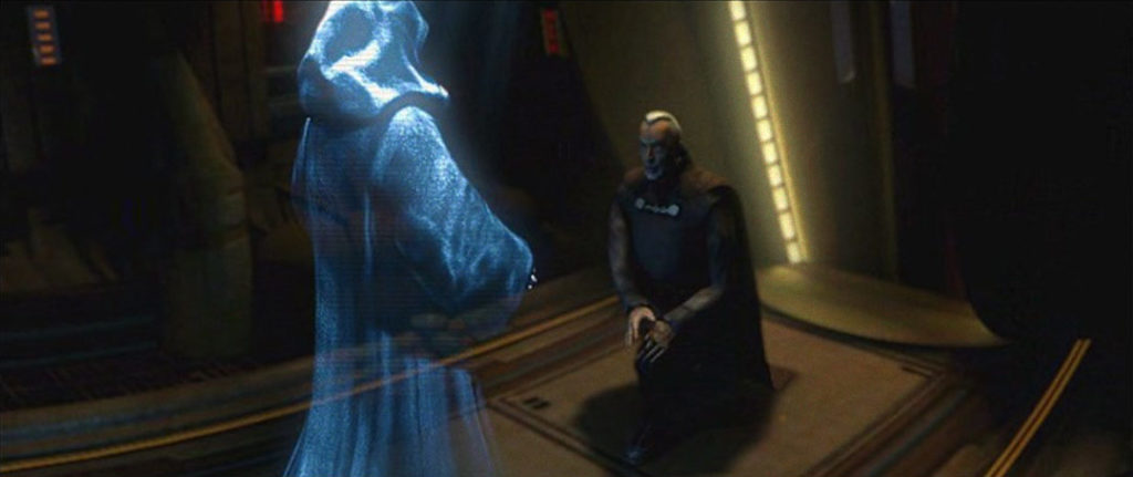 Darth Sidious speaks with Count Dooku in the game Star Wars: Bounty Hunter.