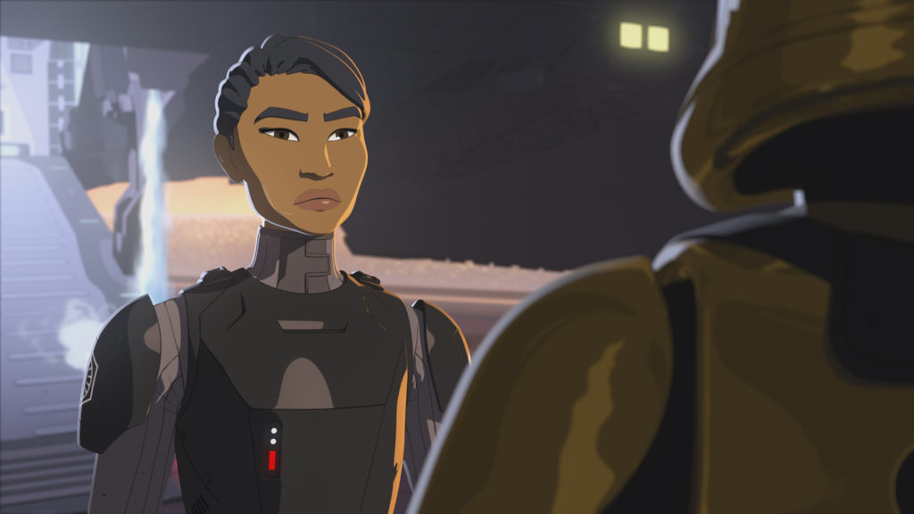 Agent Tierny speaks with Commander Pyre in Star Wars Resistance.