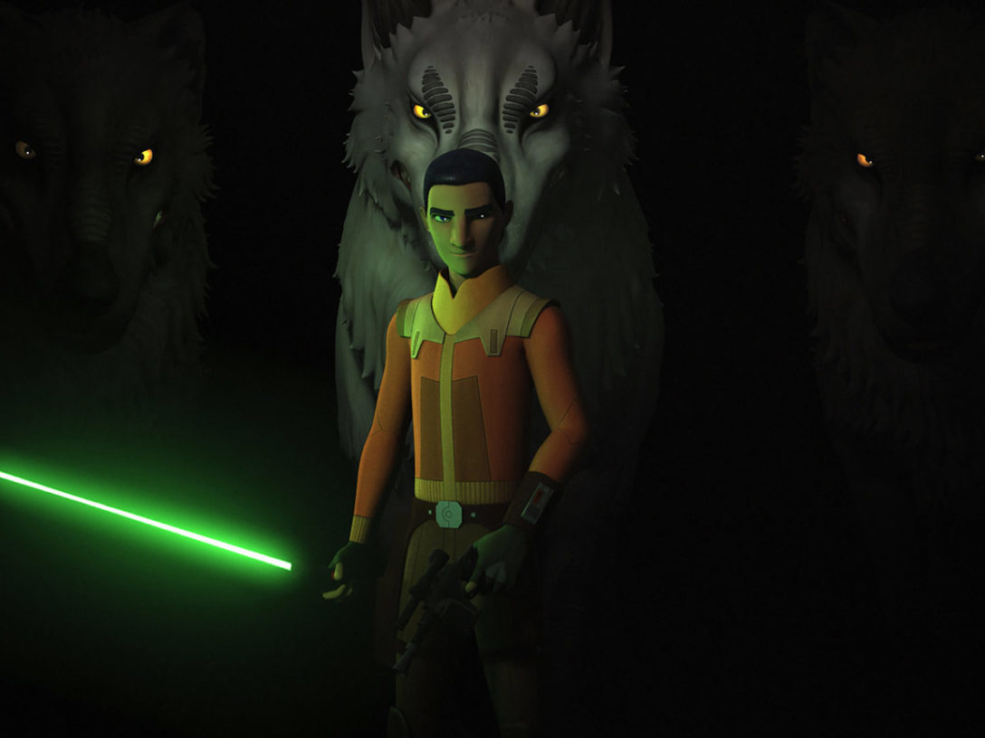 Ezra Bridger with a Loth-wolf on Star Wars Rebels.