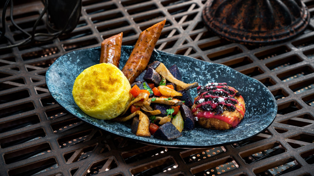 The Bright Suns Morning can be found at Docking Bay 7 Food and Cargo and features threecheese egg bite, pork sausage, purple potato hash and a mini Mustafarian lava roll. (David Nguyen/Disney Parks)