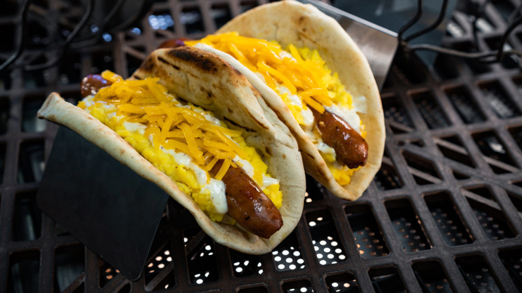 The Ronto Morning Wrap can be found at Ronto Roasters and is scrambled eggs, grilled pork sausage, shredded cheese and peppercorn sauce wrapped in pita. (David Nguyen/Disney Parks).