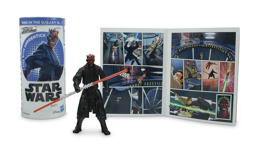 A Darth Maul action figure, part of Hasbro's next wave of Star Wars Galaxy of Adventures figures.