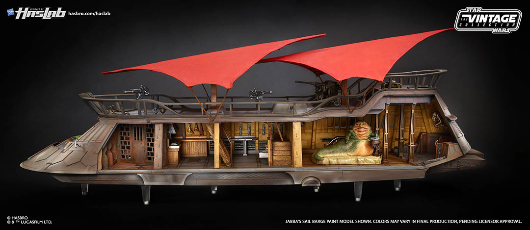 A close-up of Hasbro's HASLAB Jabba's sail barge toy.