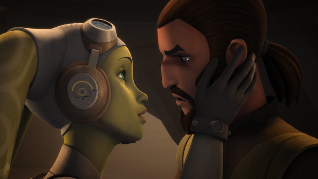 Hera and Kanan's first kiss in Star Wars Rebels.