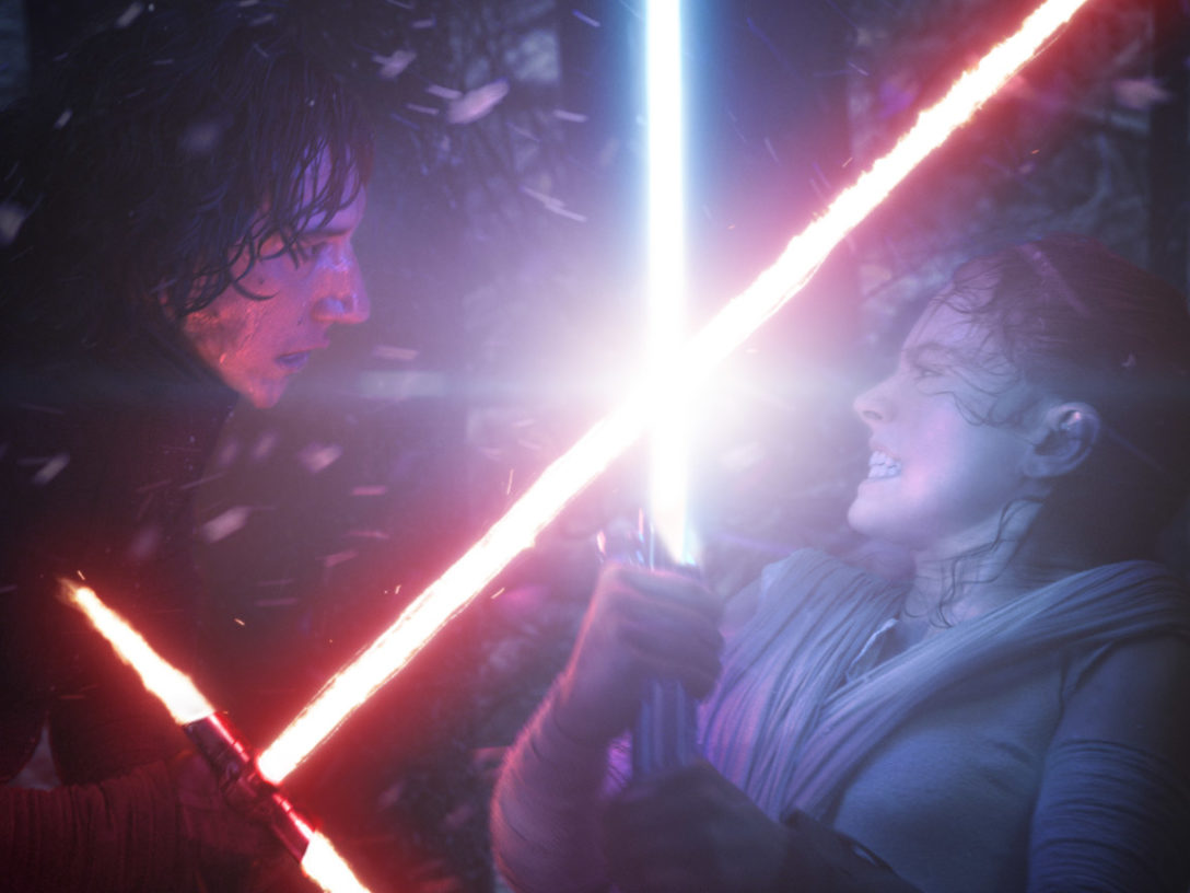 Rey and Kylo Ren battle.