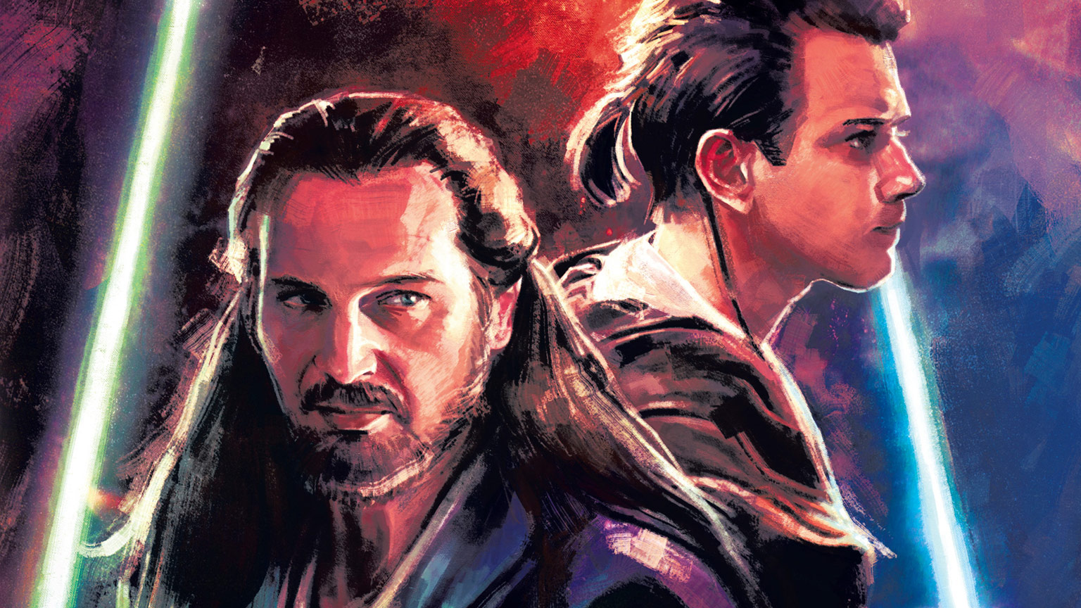 Qui-Gon Jinn and Obi-Wan Kenobi from the cover of Star Wars: Master and Apprentice.