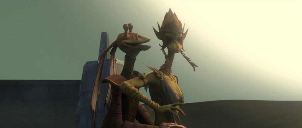 Jar Jar Binks reunites with Queen Julia in Star Wars: The Clone Wars.