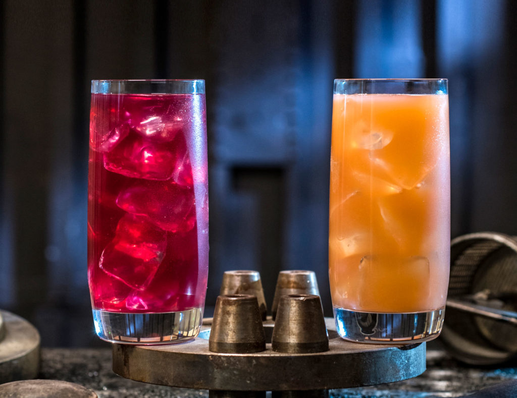 Left to right, non-alcoholic beverages: the Phattro and Moof Juice can be found at Docking Bay 7 Food and Cargo inside Star Wars: Galaxy's Edge. (David Roark/Disney Parks)